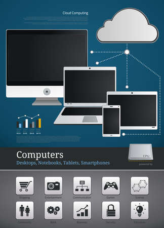 computer network diagram: Computer icons and symbols for infographics