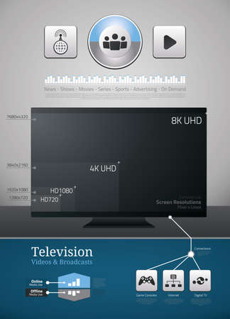 Television and video icons and symbols for infographics