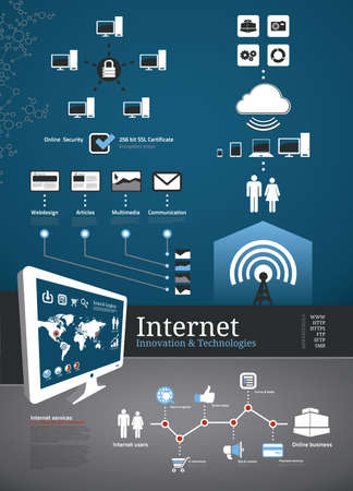 Internet icons and symbols for infographics and business
