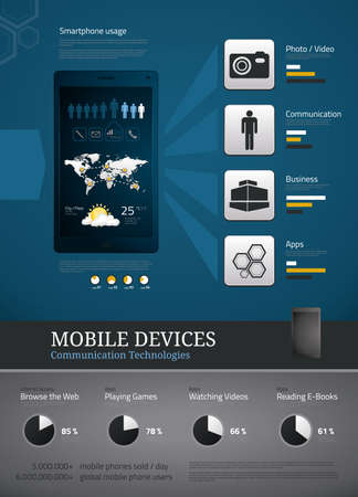 Mobile devices icons and symbols for infographics photo
