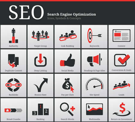search results: Search Engine Optimization - SEO - Icons and Symbols