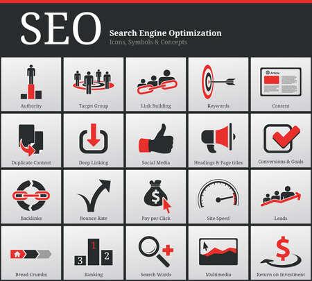 internet traffic: Search Engine Optimization - SEO - Icons and Symbols