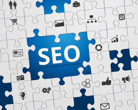 seo marketing: Search Engine Optimization - SEO - Jigsaw Puzzle and Icons