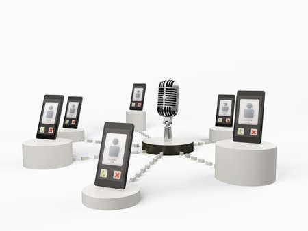 symbol vigilance: Concept of mobile phone surveillance Stock Photo