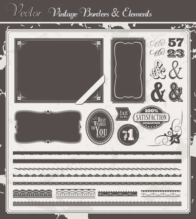 Vintage Vector set with borders, labels, frames and decoration elements photo