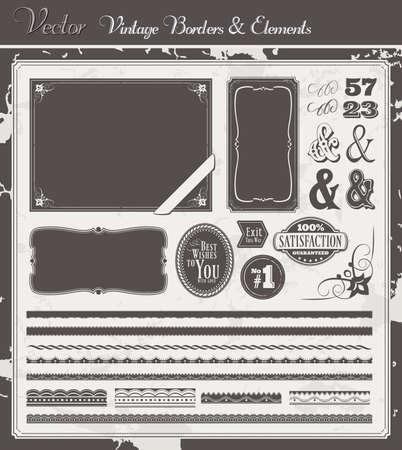western border: Vintage Vector set with borders, labels, frames and decoration elements