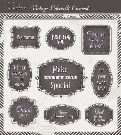 Vintage Vector set of labels and graphic design elements photo