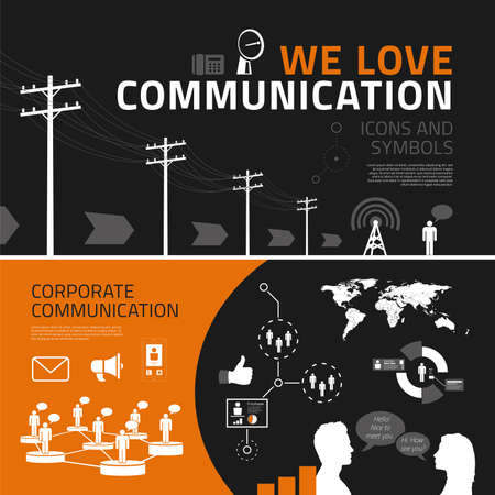 Communication vector infographics elements for business reports and presentations
