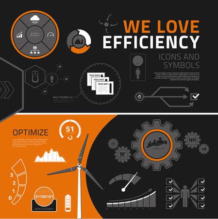 Efficacité vecteur infographies éléments des rapports d'affaires et des présentations