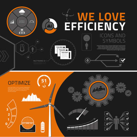 Efficiency vector infographics elements for business reports and presentations