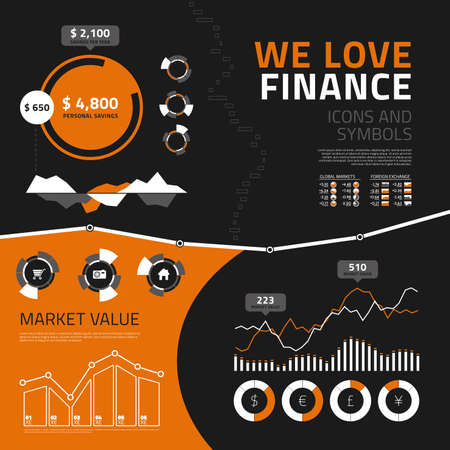 Finance vector infographics elements for business reports and presentations