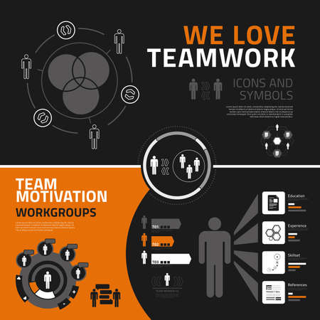 recruitment icon: Teamwork vector infographics elements for business reports and presentations