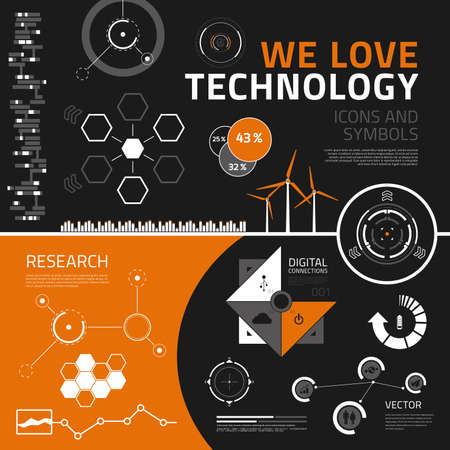 performance management: Technology vector infographics elements for business reports and presentations