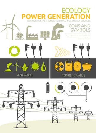 Renewable and nonrenewable power generation graphic set Vector concept designs