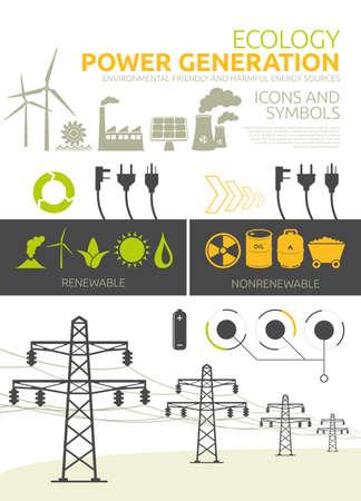 Renewable and nonrenewable power generation graphic set Vector concept designs