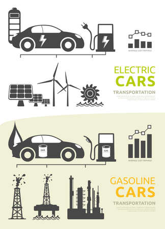 nonrenewable: Vector icons and symbols for electric cars and gasoline cars Stock Photo