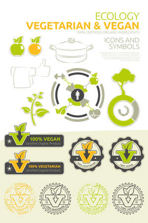 Vector icons and symbols for vegetarian and vegan nutrition Stock Photo - 21965260