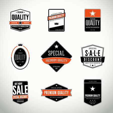 quality control: set with seals, stamps, labels or badges
