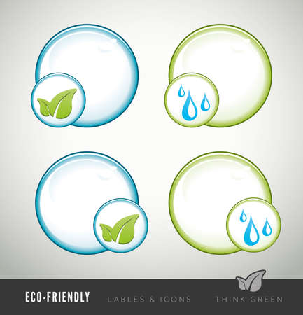 Eco-friendly icons for products and presentations photo