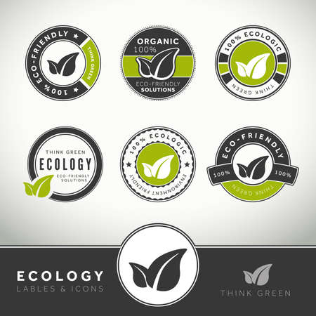 Quality set of ecology labels and badges, seals and stamps photo