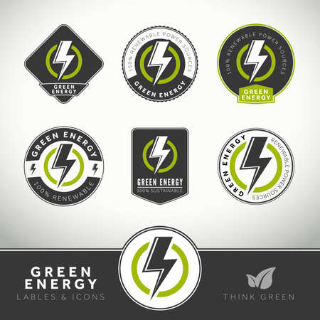 Quality set of green energy icons, labels and badges for eco-friendly presentations photo