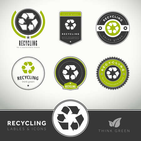 Quality set of recycling labels and badges, seals and stamps photo