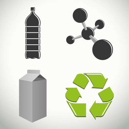 Vector plastics and recycling icons and symbols