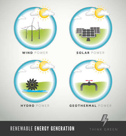 fuel and power generation: Modern renewable energy generation icons and symbols