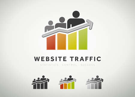 metrics: Colorful website traffic and search engine optimization icon Stock Photo
