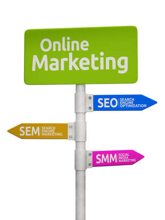 Online Marketing road sign concept pointing to SEO, SEM and SMM