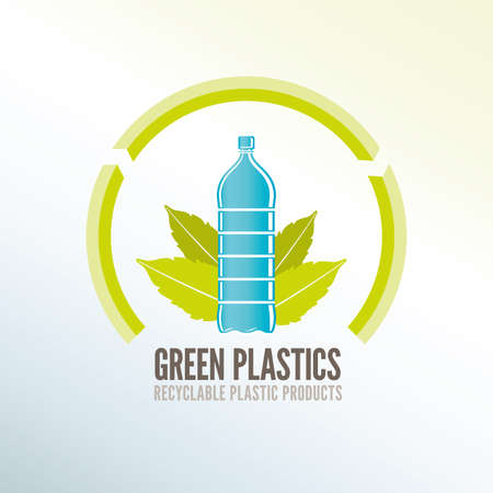 Green quality recycling badge for ecologic plastic products photo