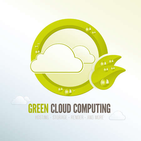 Green cloud computing badge for quality energy efficient technology photo