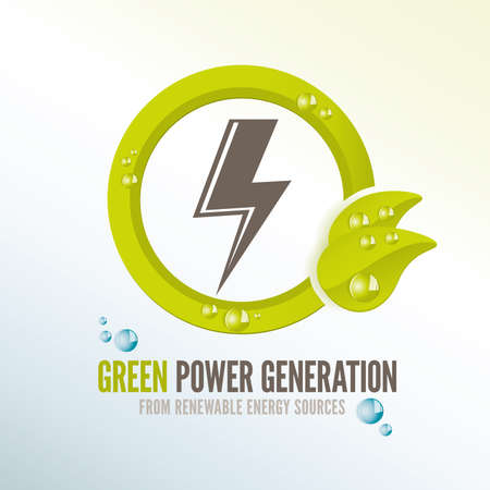 Green power generation badge for electricity from renewable energy sources photo