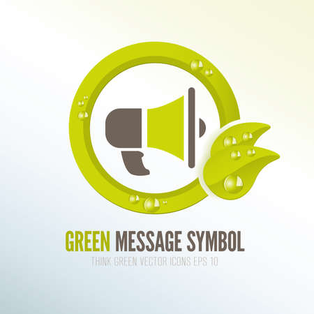 Green megaphone symbol for distributing ecologic messages photo