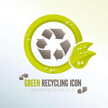 residuos organicos: El reciclaje icono verde del vector para la gestión de residuos ecológica