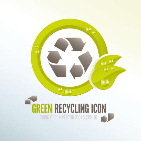 Green vector recycling icon for ecologic waste management