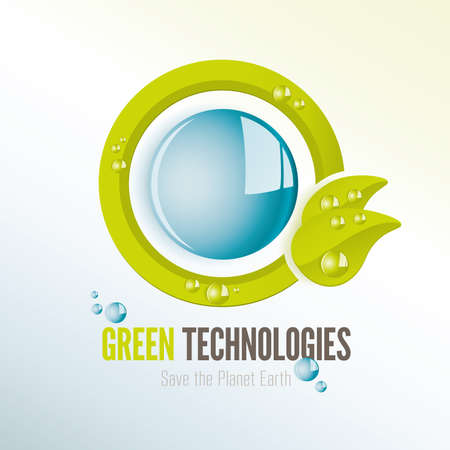water quality: Green technologies icon to save the planet earth