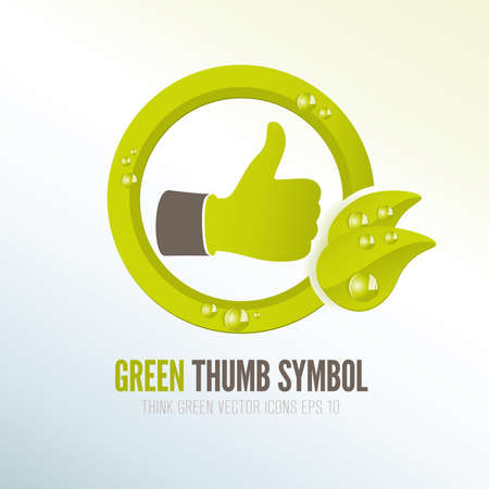 Green thumb icon for eco-friendly products  and presentations photo