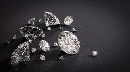 Beautiful shiny diamonds on black background