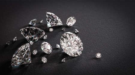 diamante negro: Diamantes brillantes hermosas en fondo negro Foto de archivo