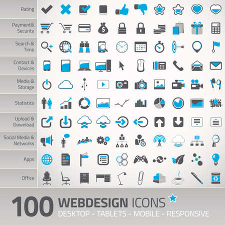 cloud hosting: Set of 100 universal vector icons for webdesign & online services Stock Photo