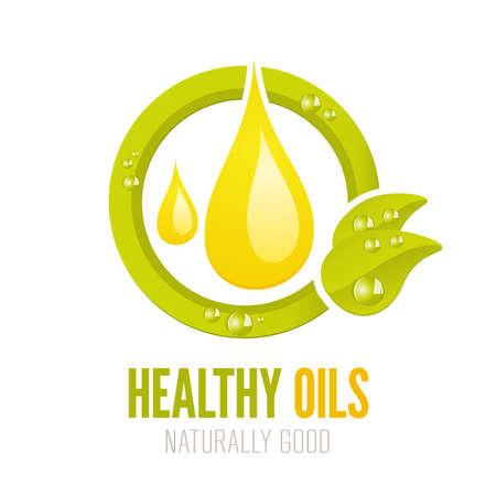 Natuurlijke en gezonde oliën label ontwerp voor web en print Stockfoto