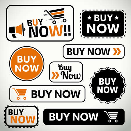 Quality set of buy now buttons for websites and print