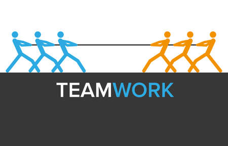 man of war: teamwork graphics with two teams for infographics Stock Photo