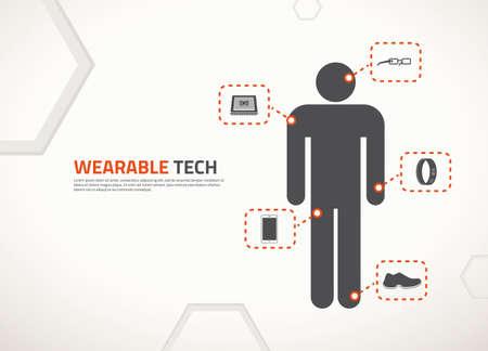 착용 할 수있는 기술 cector 컨셉 디자인 및 아이콘 스톡 콘텐츠