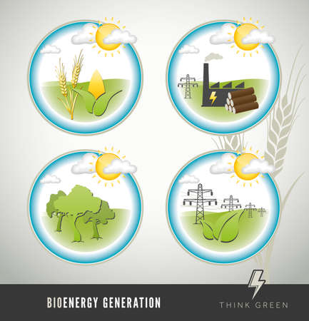 Set of bioenergy and biomass power generation icons