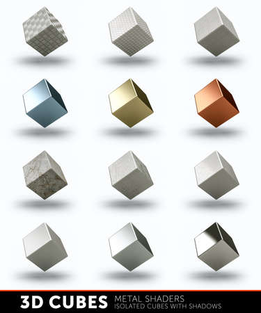 metal textures: 3D cubes with different metal textures and shaders