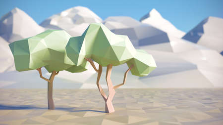 summer trees: Low polygon 3D trees and mountains in summer scene