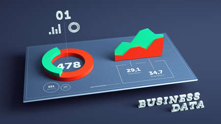 visualization: 3D business statistics and data visualization background