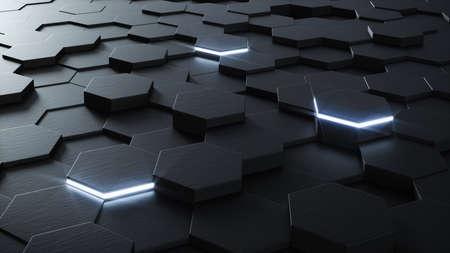 Technical 3D hexagonal background design structure